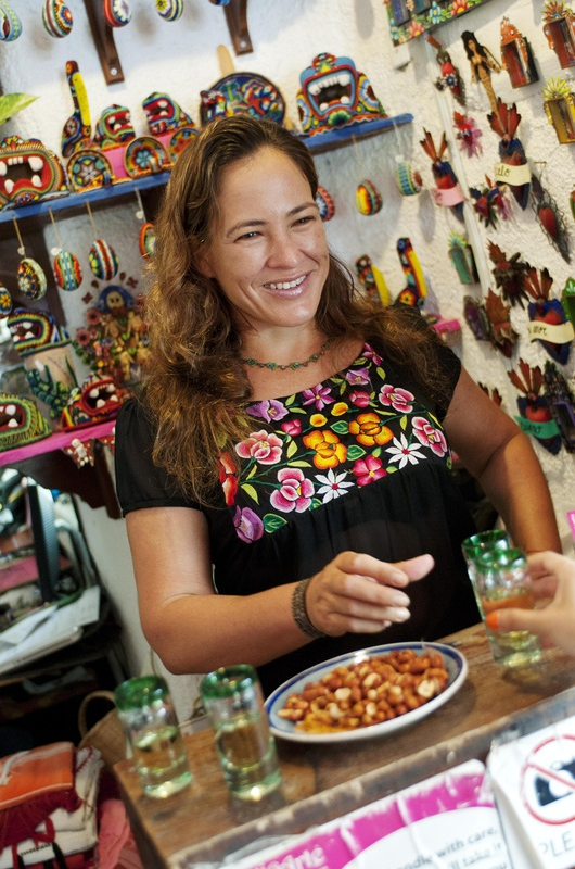 beautiful nayeli aparicio - owner of the mexic arte art gallery in akumal, and in tulum. we enjoyed a personal tour of her gallery.