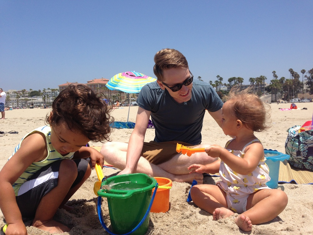 Travis + Kids at beach 2