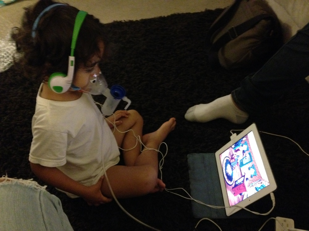 """Each treatment took at least 20 minutes.We had to get creative to get the kids to do their full nebulizer treatments. This included whoever was getting his/her treatment got use of the iPad and once they were done with their treatment they got a chocolate """"treat"""" aka leftover Valentines Day chocolate."""