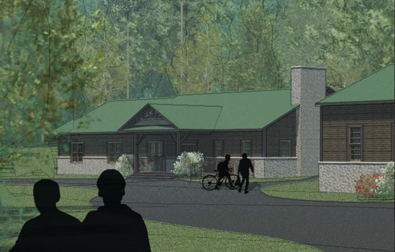 Rendering of remodeled West Retreat building