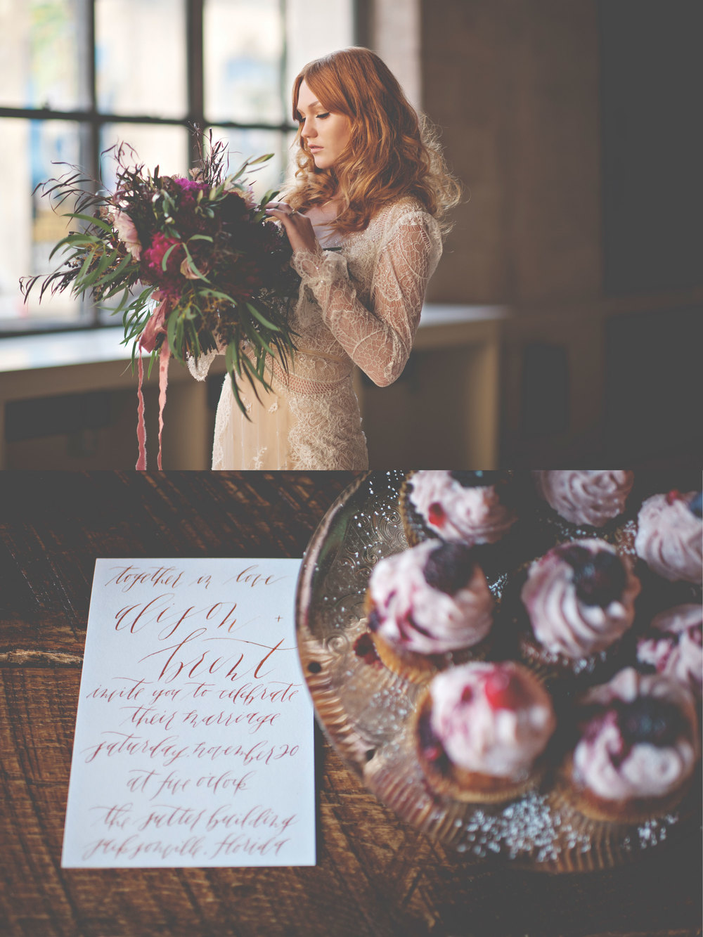 graceline illustration + calligraphy | christina block photography | dress: inbal dror | hair + makeup: modern classic beauty florals: ruby reds floral | cakes: sweet n flour