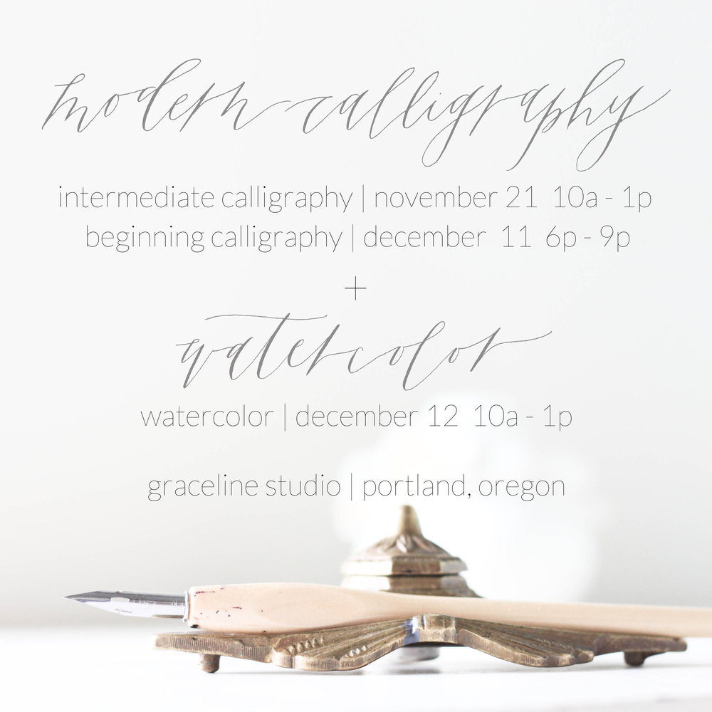 graceline calligraphy + illustration  | fall classes - portland oregon