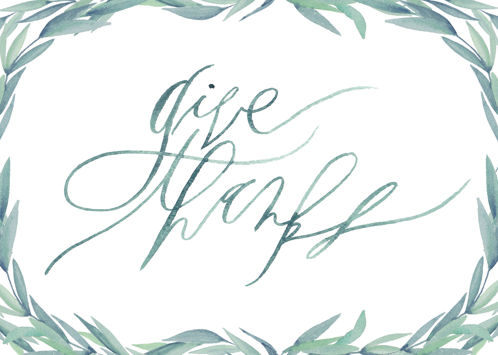 graceline illustration + calligraphy | give thanks with brances