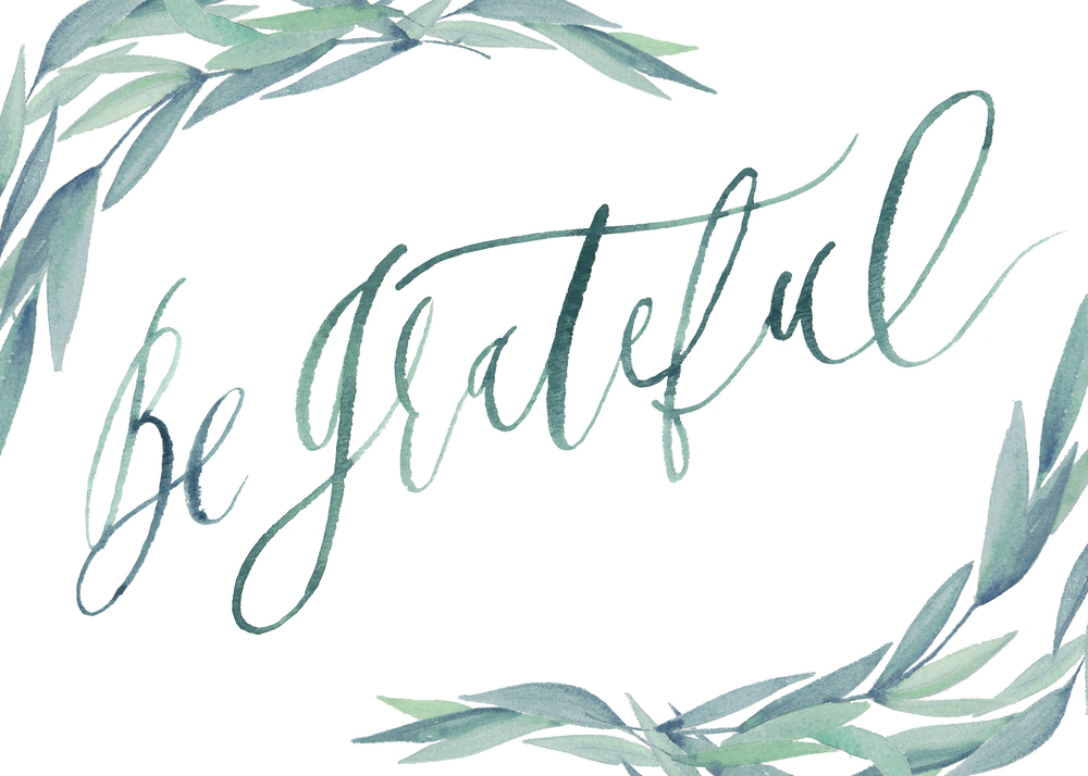 graceline illustration + calligraphy | be grateful with branches