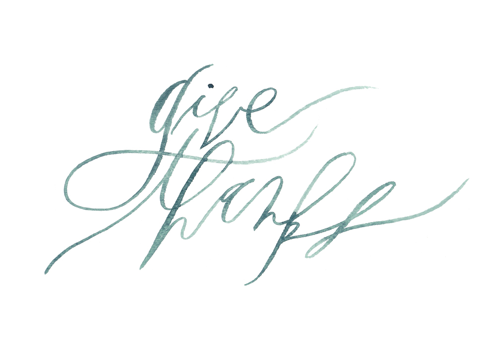 graceline illustration + calligraphy | give thanks