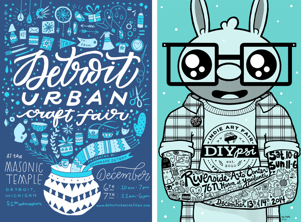DUCF poster (left) by Kristen Drozdowski of Worthwhile Paper. DIYpsi poster (right) by Jason Driscoll of Kill Taupe.