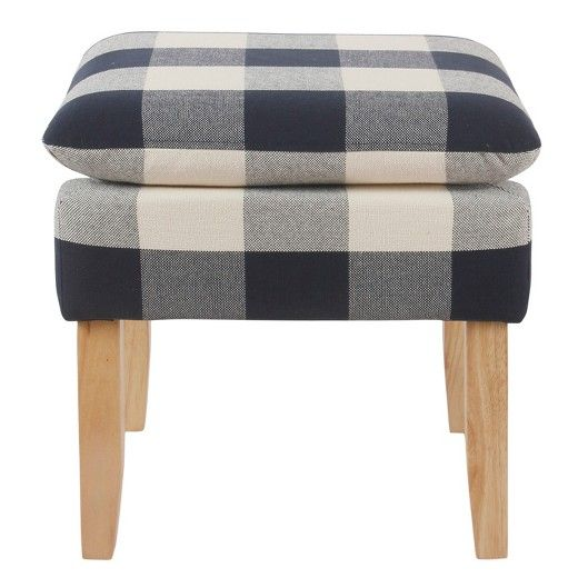 Blue Threshold Ottoman - This is the perfect piece, add two of them to the living room for a pop of plaid. I have these in my living room and love them! Super soft and easy to clean when the kiddies get finger prints on them.