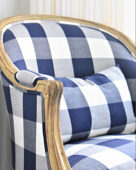 Regency chair by Bullard Design - With over 100 fabrics, you won't run short of accent options with this chair & Ballard design. I love the style of this chair with the buffalo check print in blue or black. They also have an black and white striped print that is to die for (throw on a fuchsia pink pillow and your set.)