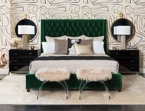 Amelia Bed - High Fashion Home - The most amazing green bed to ever grace the world. I love this bed, its the perfect green.