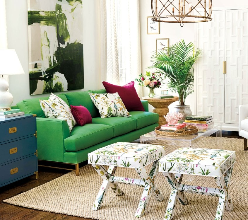 Kathryn Green Couch - Ballard Design - Not only is this is the perfect green shade for a couch, it has a pop of gold on the feet.