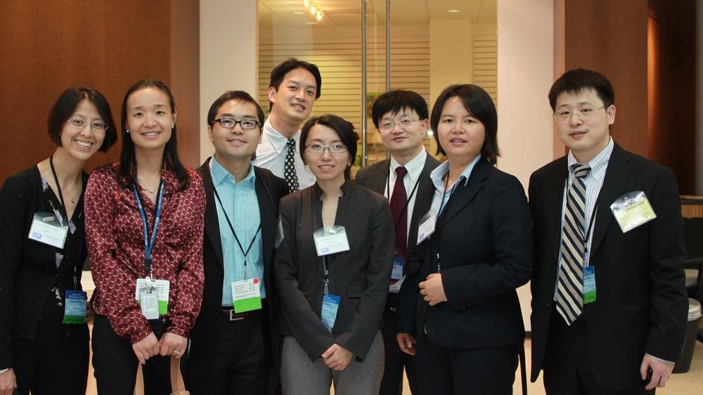 CHPAMS Members at Westlake Forum III in Atlanta, 2011. Front row (L to R): Shufang Zhang, Zheng (Jane) Li, Yusheng Zhang, Chenhui Liu, Chao Zhou, Zhuo (Adam) Chen; back row: Lu Shi; George Zhou  Source:  http://chinamedicalboard.org/news/westlake_forum_iii