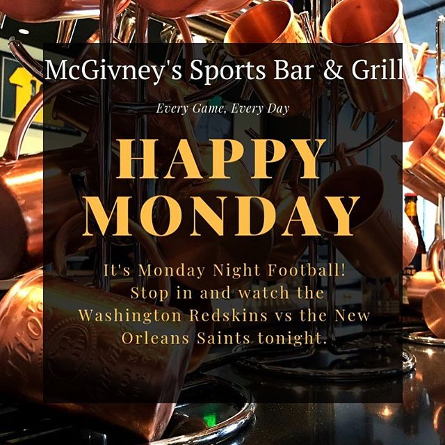 🏈 Only good thing about Monday's are FOOTBALL! Come hang out with us tonight for the game. 🏈 . . . . . . . . . #mcgivneys #sportsbar #mightytasty #tasty #yum #juneau #ak #alaska #dinejuneau #dba #adventurebyday #luxurybynight #juneaueats #food #foodstagram #sports #juneaurestaurants #eats #eatlikealocal #instagood #restaurant #mcgivneysdt #mcgivneysdowntown #mondaynightfootball