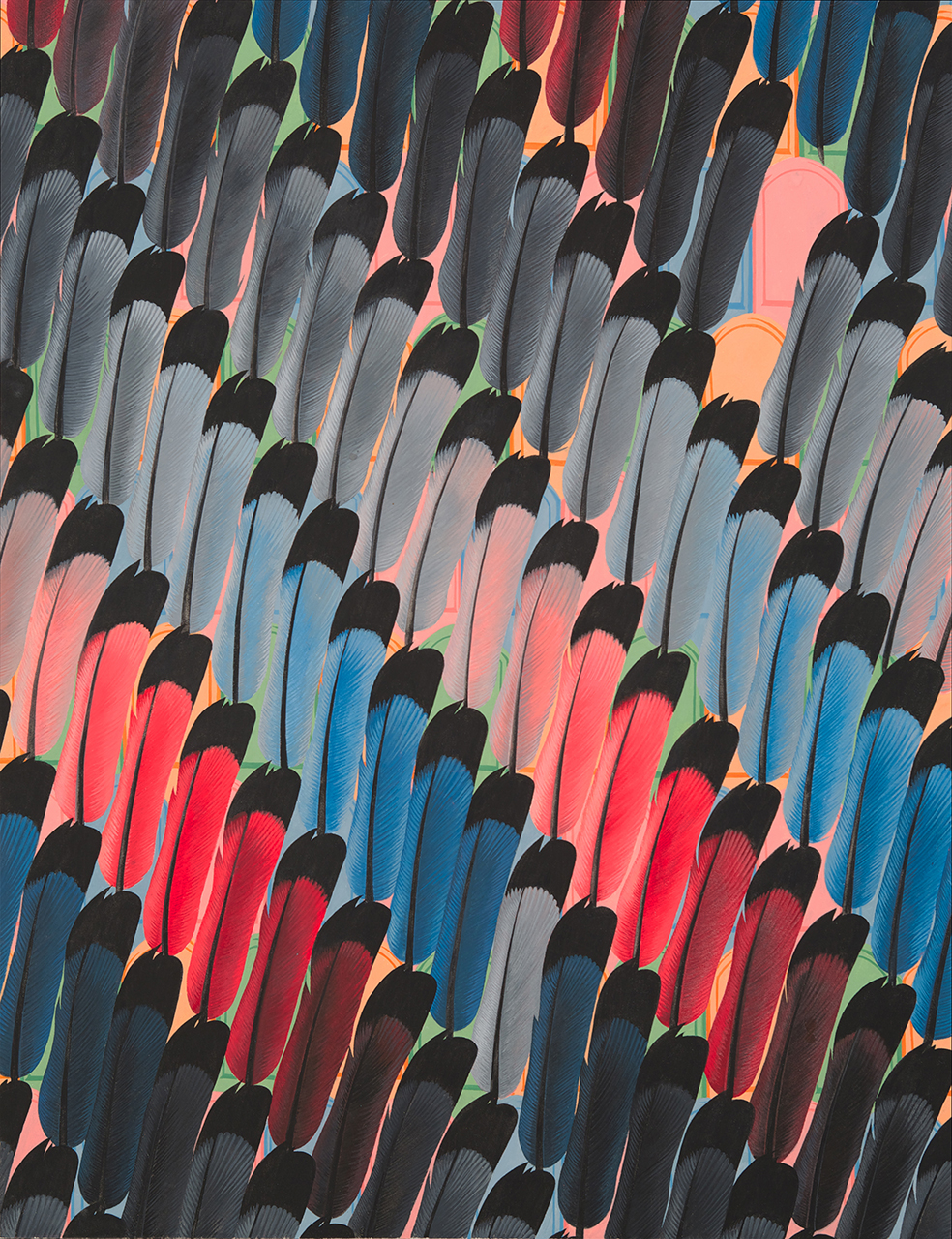 Crowd of Feathers 2014 Gouache on Paper 21.5 x 16.5 inches