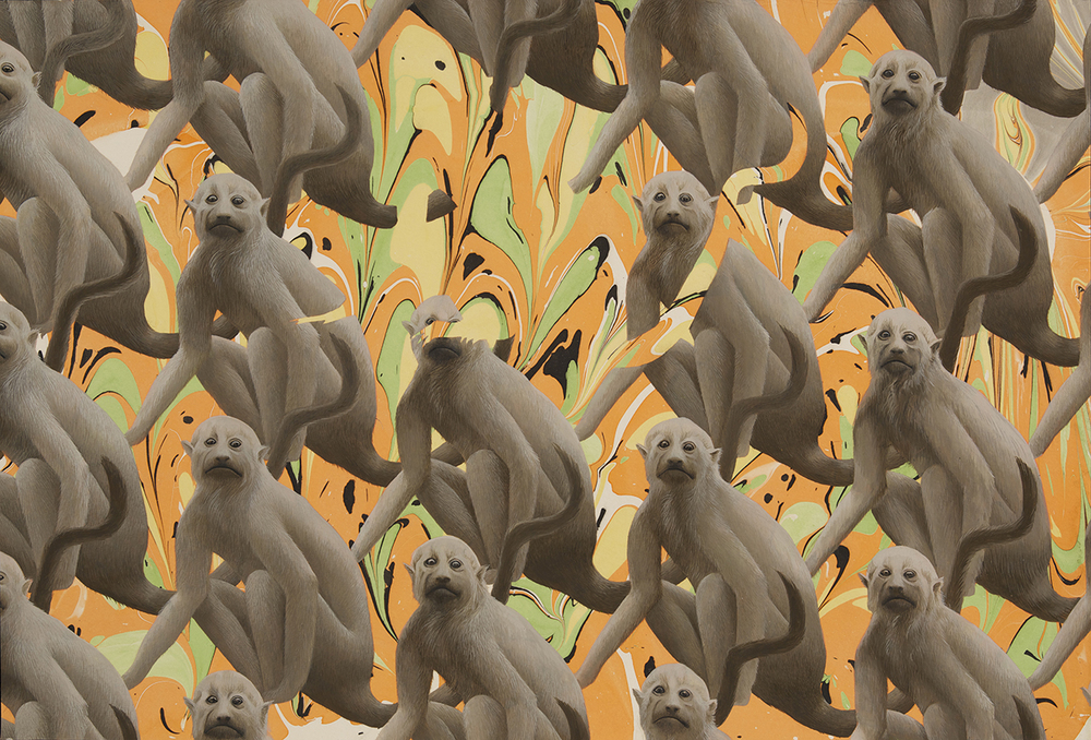 Crowd of Monkeys 2013 Gouache on Paper 16 x 22 inches