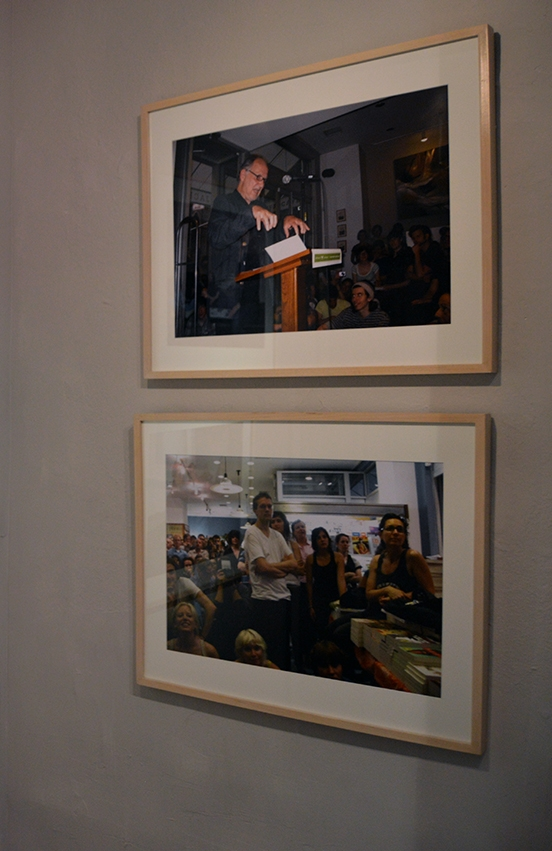 "Rainer Ganahl; S/L, Werner Herzog, Conquest of the Useless, Reflection from the Making of Fitzcarraldo, Reading & Signing, McNally Jackson Bookshop, New York, 6/26/2009;   2 photographs, 20"" x 24"", Edition of 4; 2015"