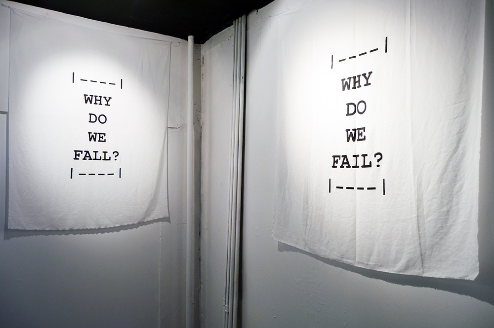 "Rainer Ganahl   WHY DO WE   FALL? WHY DO WE FAIL?    43"" x 59""    Silkscreen on silk    Edition of 3"