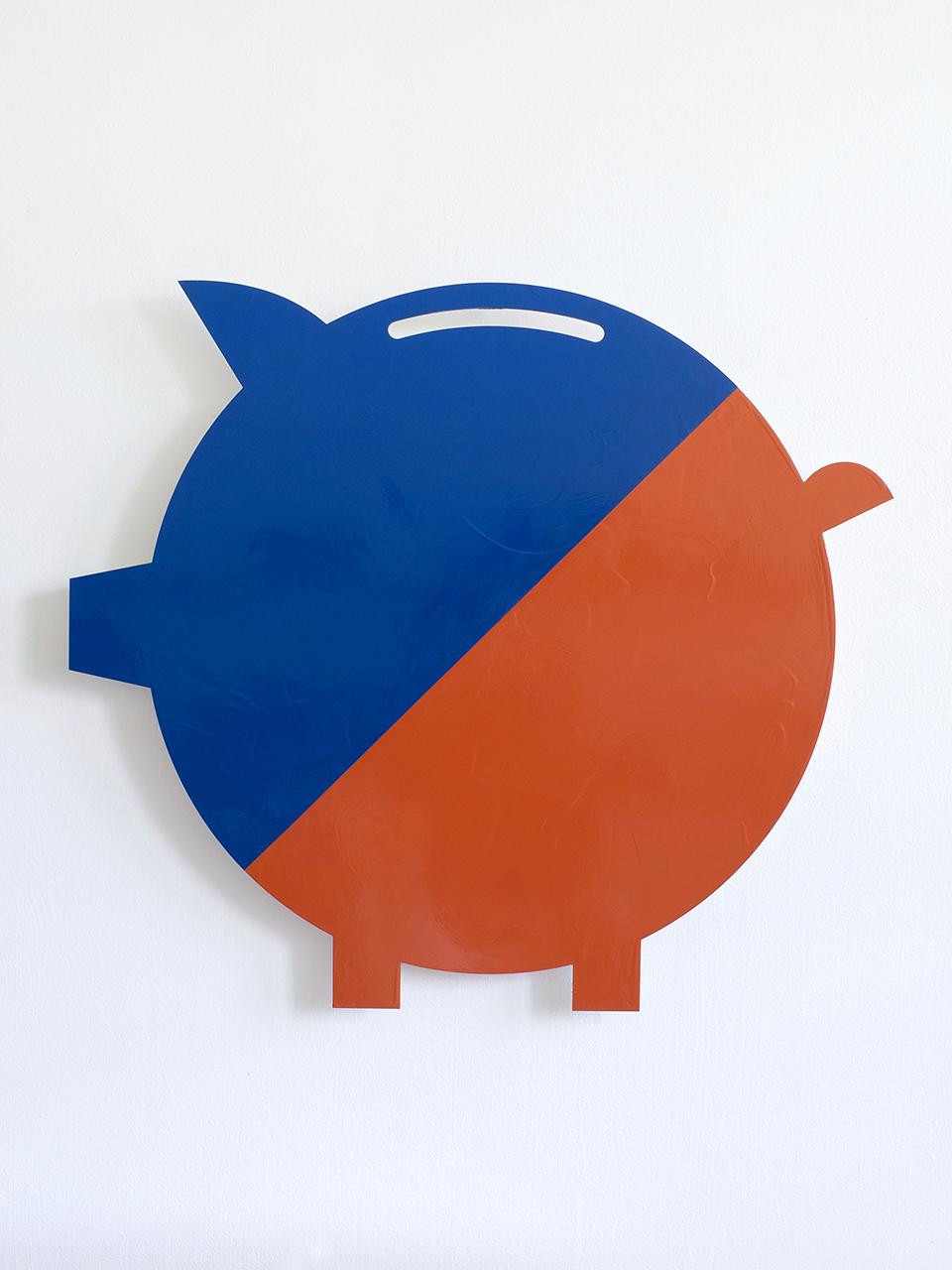 "Jan Kiefer blue/orange acrylic and lacquer on PVC 35.5"" x 31.5"""