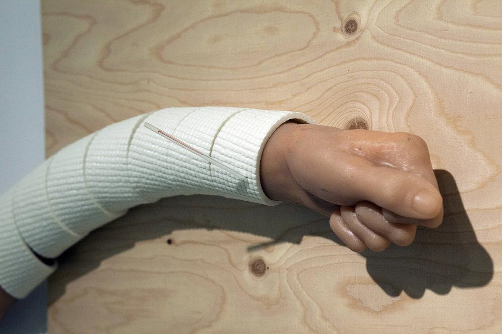 "Copy of Maryam Jafri. Schadenfreude (2017). 32""x 4""x 18"". plywood, silicone, Acupuncture needle (in casing), yoga mat. Detail"
