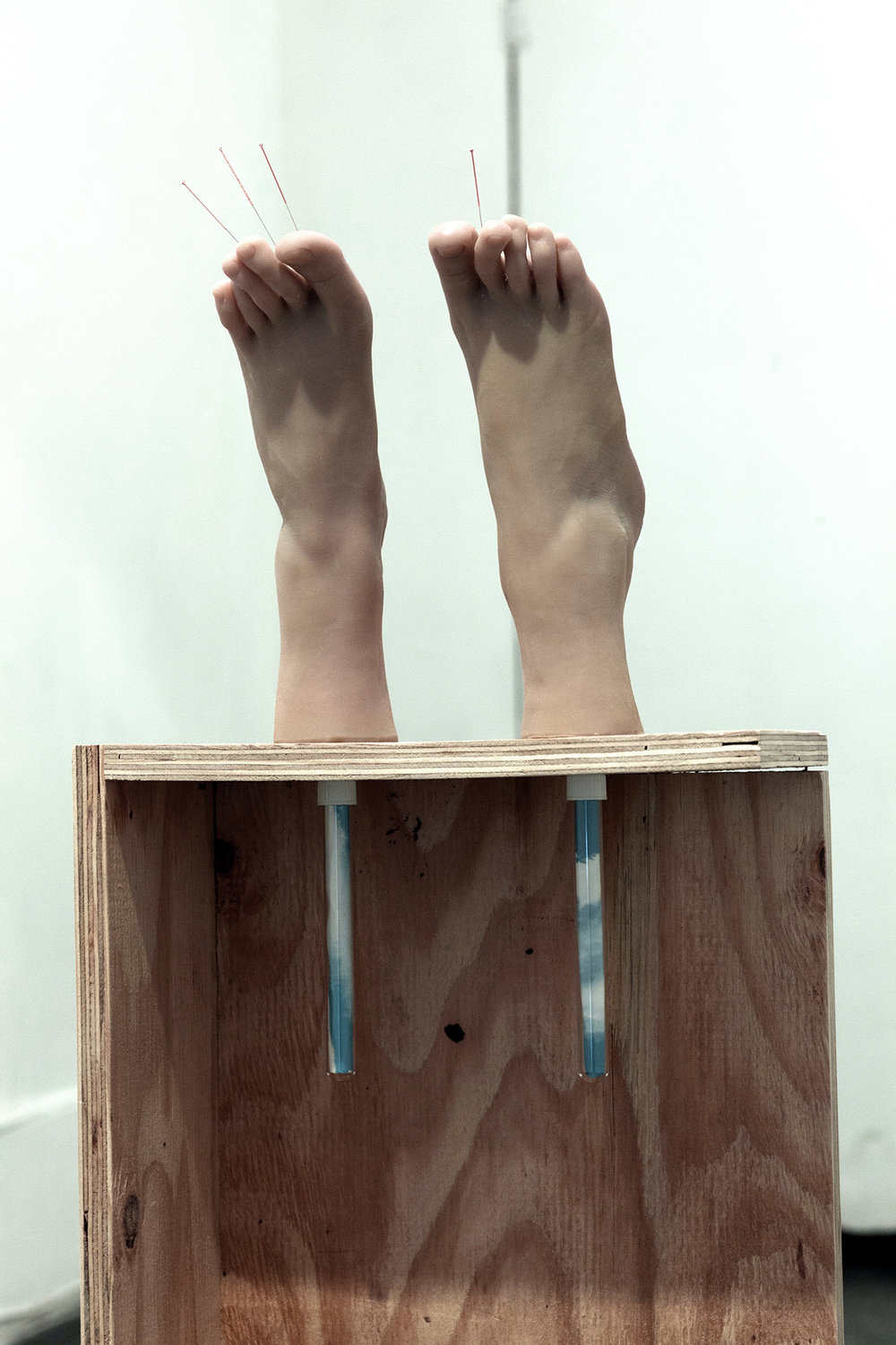 """Copy of Maryam Jafri. Anxiety (2017). 12.5""""x 6.75"""" x 40.5"""". wood, silicone feet, acupuncture needles, test tubes, paper. Detail"""