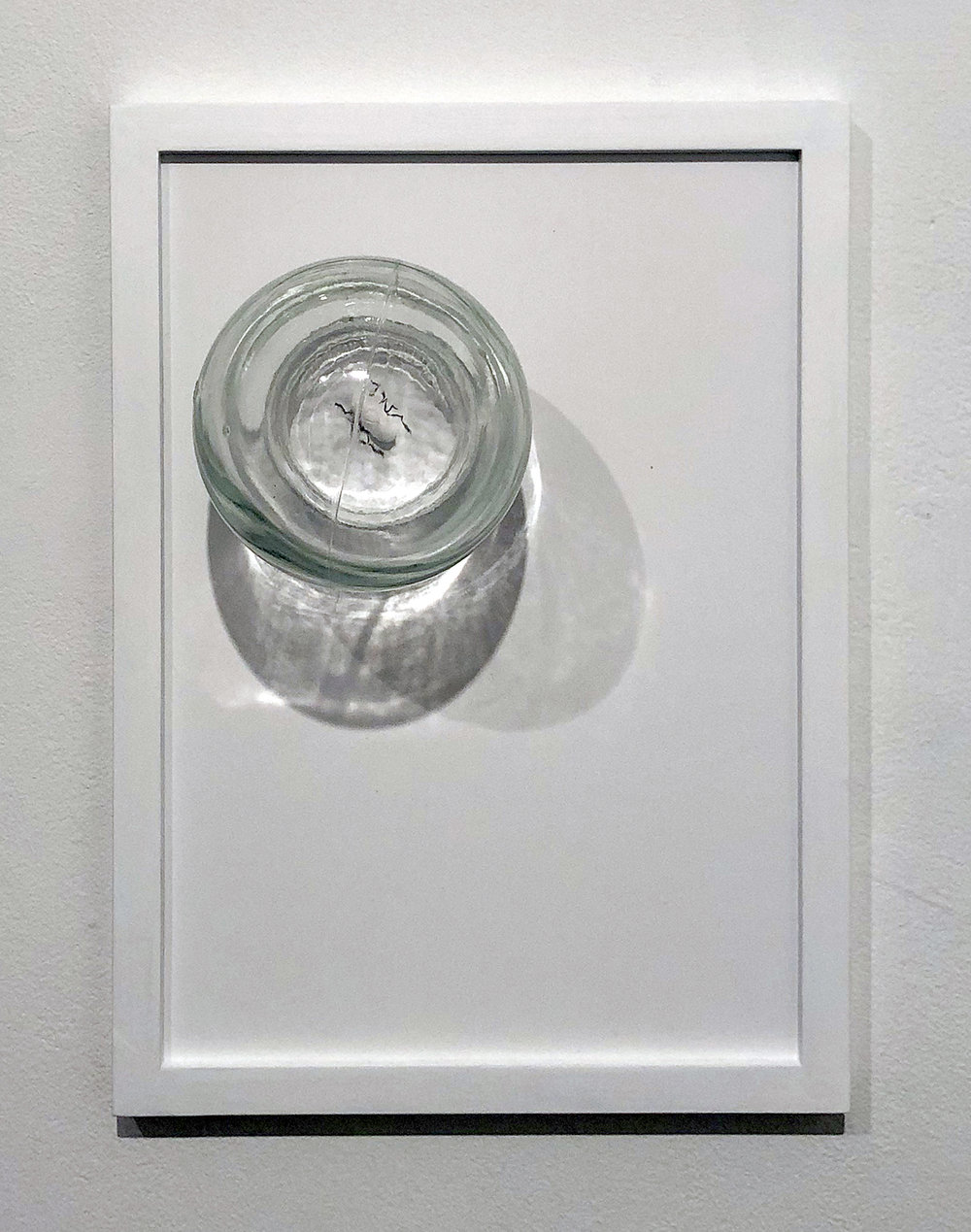 """Copy of Maryam Jafri. ANT (Automatic Negative Thought) (2017). 12""""x 5""""x 9"""". Inkjet on paper, graphite, pill, cupping glass"""