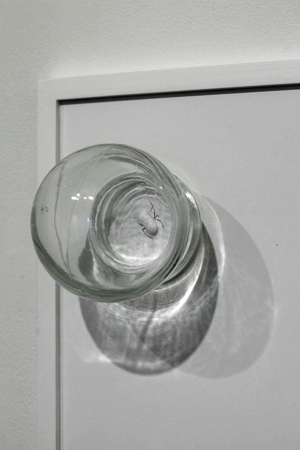 """Copy of Maryam Jafri. ANT (Automatic Negative Thought) (2017). 12""""x 5""""x 9"""". Inkjet on paper, graphite, pill, cupping glass. Detail"""