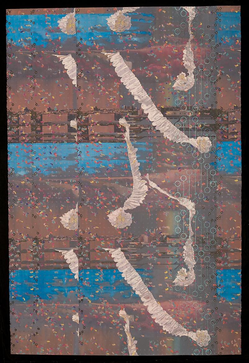 "Zoe Pettijohn Schade/ Rainbow Tornado/ Gouache on Paper/ 40"" x 60""/ 2009"
