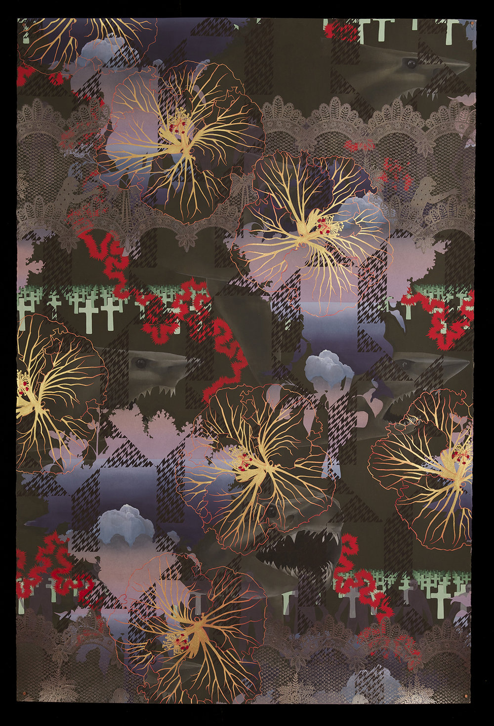 Zoe Pettijohn Schade/ Dark Harbinger/ Gouache with Gold and Silver Leaf on Paper 60 x 40 inches/ 2011