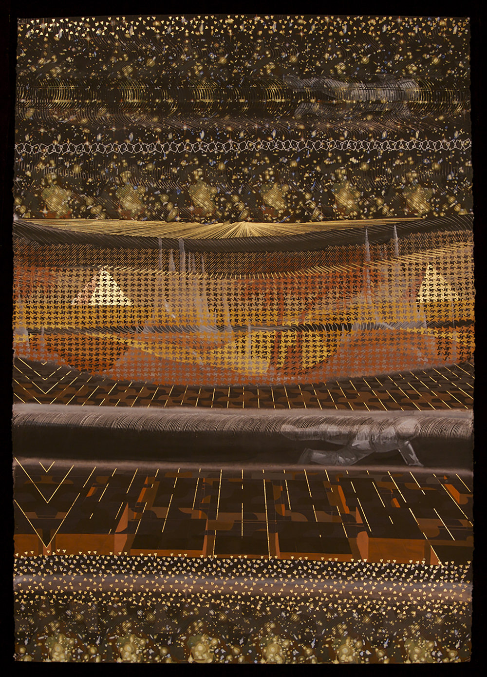 Zoe Pettijohn Schade/ Father's Space/ 2006/ Gouache with Gold Leaf on Paper/ 60 x 40 inches