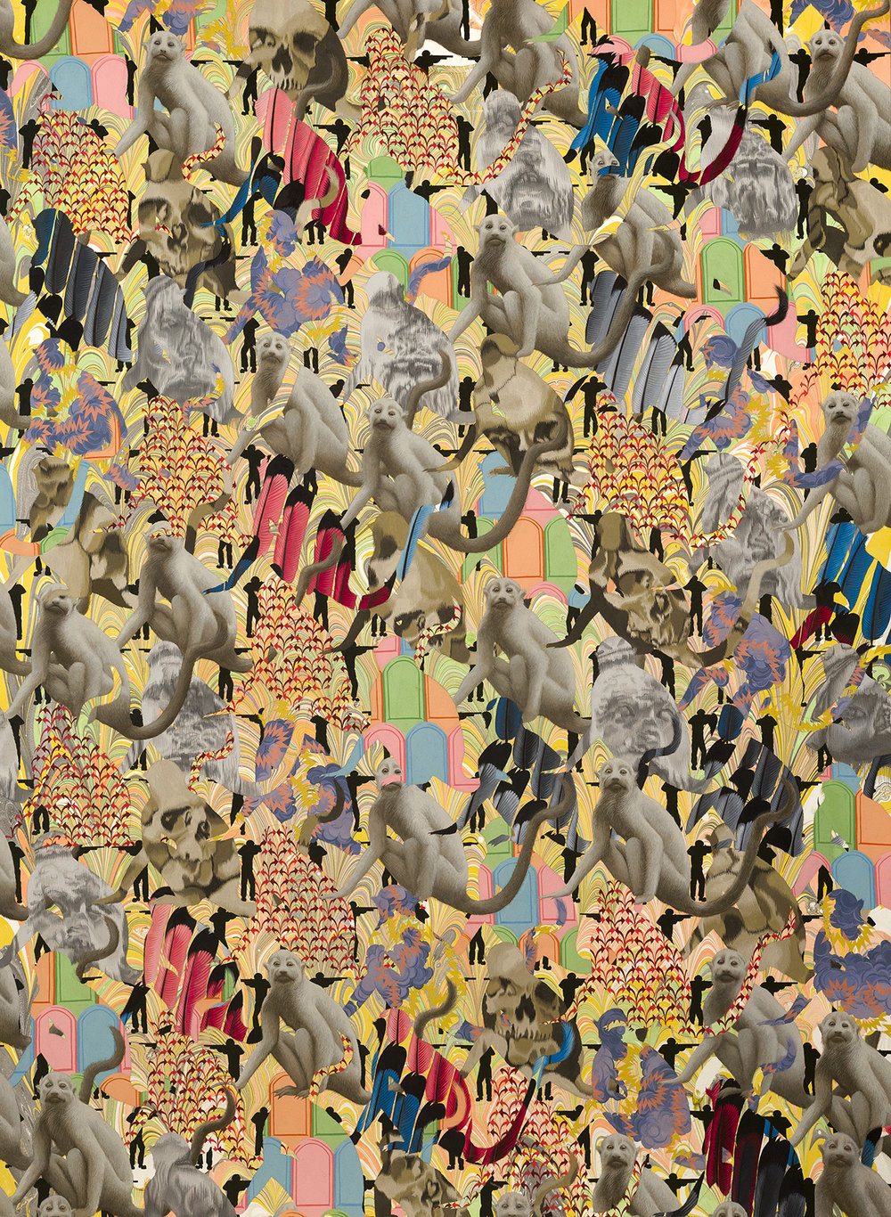"Zoe Pettijohn Schade/ Crowd of Crowds: 100th Monkey/ 36"" x 49""/ 2017"