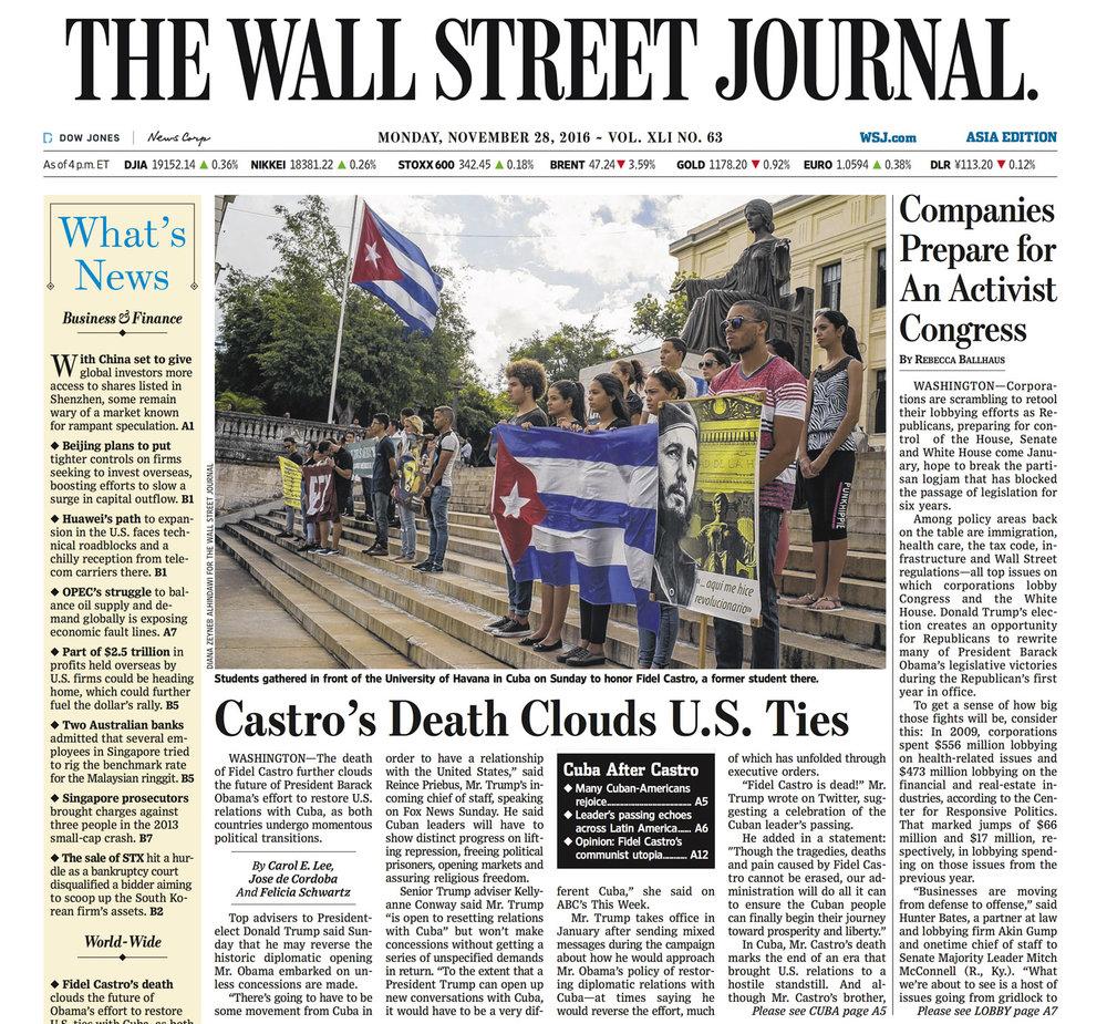 Diana Zeyneb Alhindawi_2016_11_28_WSJ_ASIA_Cuba Havana Fidel FEU_front page.jpg