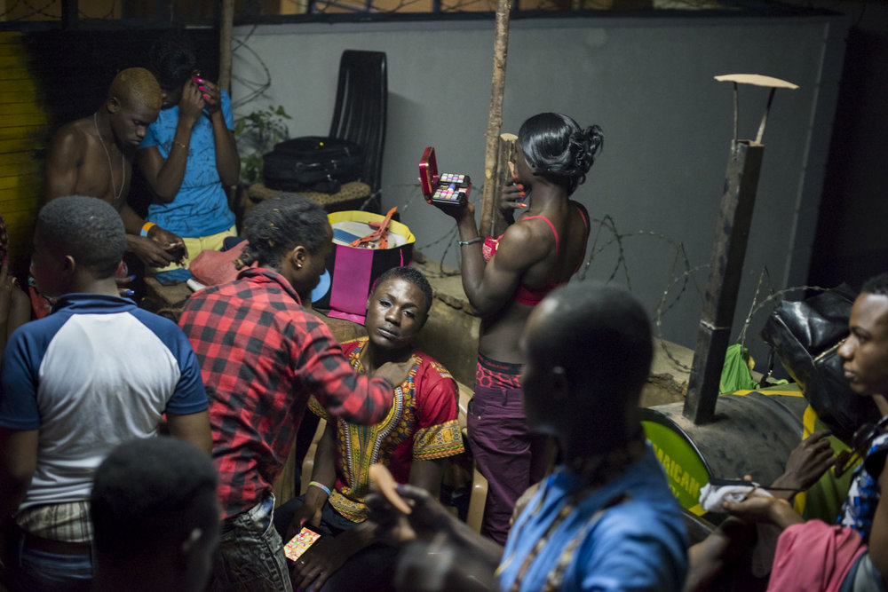Contestants prepare backstage for the Mister and Miss Pride competition. Kampala, Uganda. August 7, 2015.