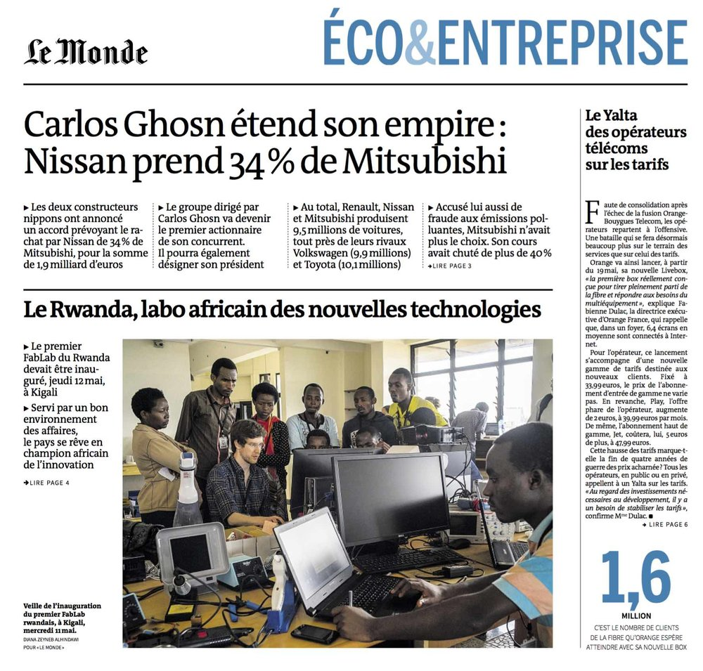 Le Rwanda, labo africaine des nouvelles technologies   (Rwanda, african laboratory for new technologies) | Le Monde, Eco & Enterprise, page 1, 13 May, 2016