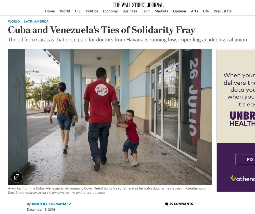 Cuba and Venezuela's ties of solidarity fray  | The Wall Street Journal, Dec 14, 2016
