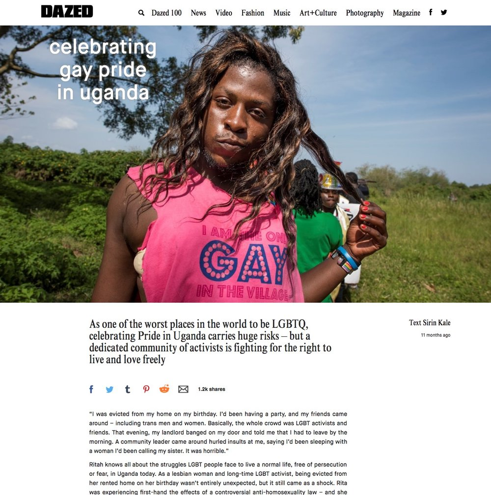 CLICK on title below to link to full article with slideshow     Celebrating Gay Pride in Uganda  | Dazed, Apr 2016