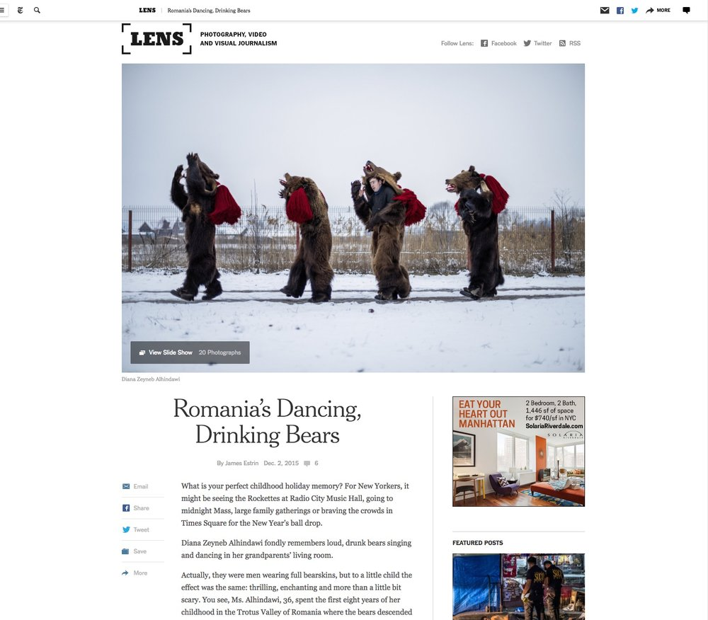 CLICK on title to link to full article with slideshow     Romania's Dancing, Drinking Bears  | New York Times Lens Blog, Dec 2, 2015