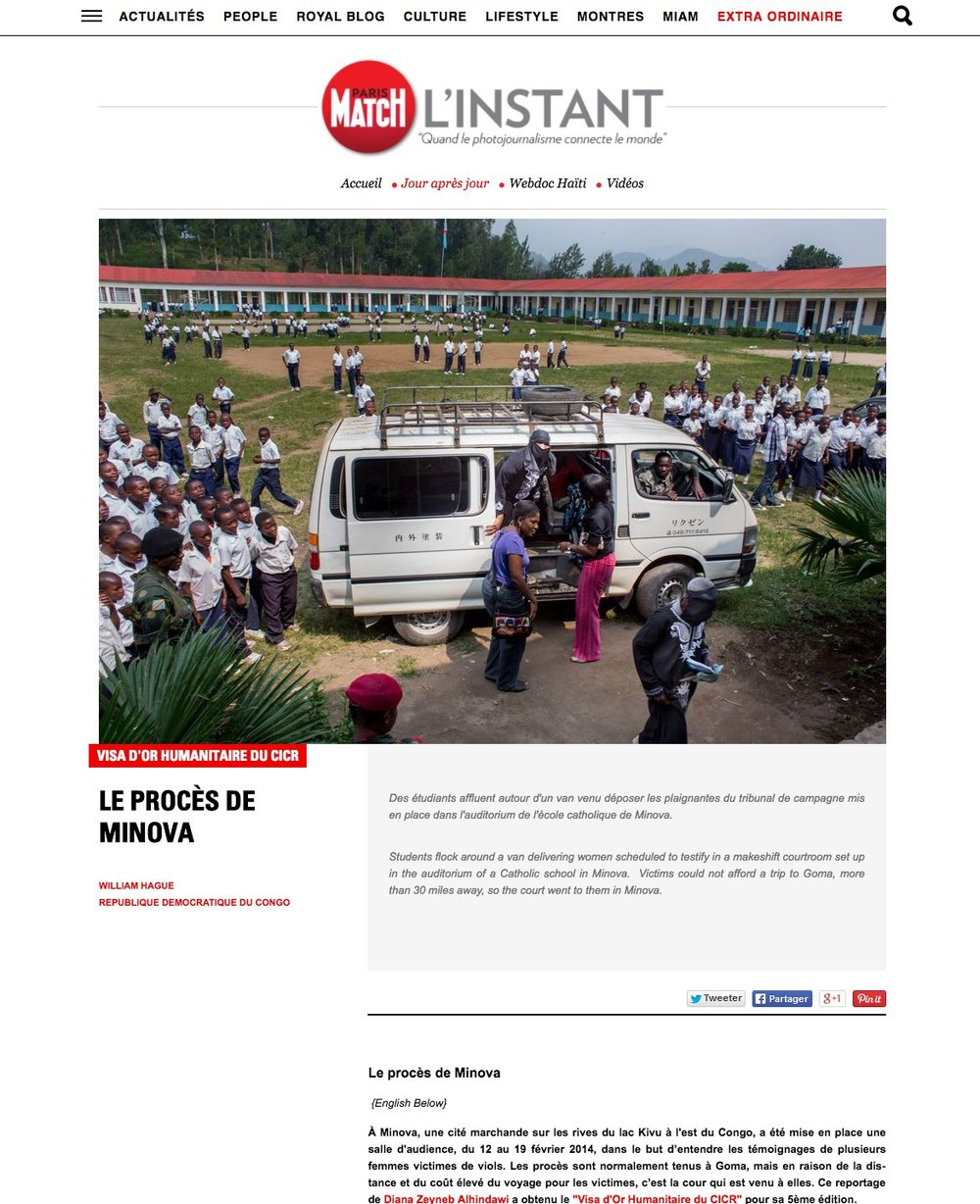 CLICK on title below to link to full article with slideshow     Le procès de Minova   (The Minova Trial)  | L'Instant - Paris Match, Jul 2015
