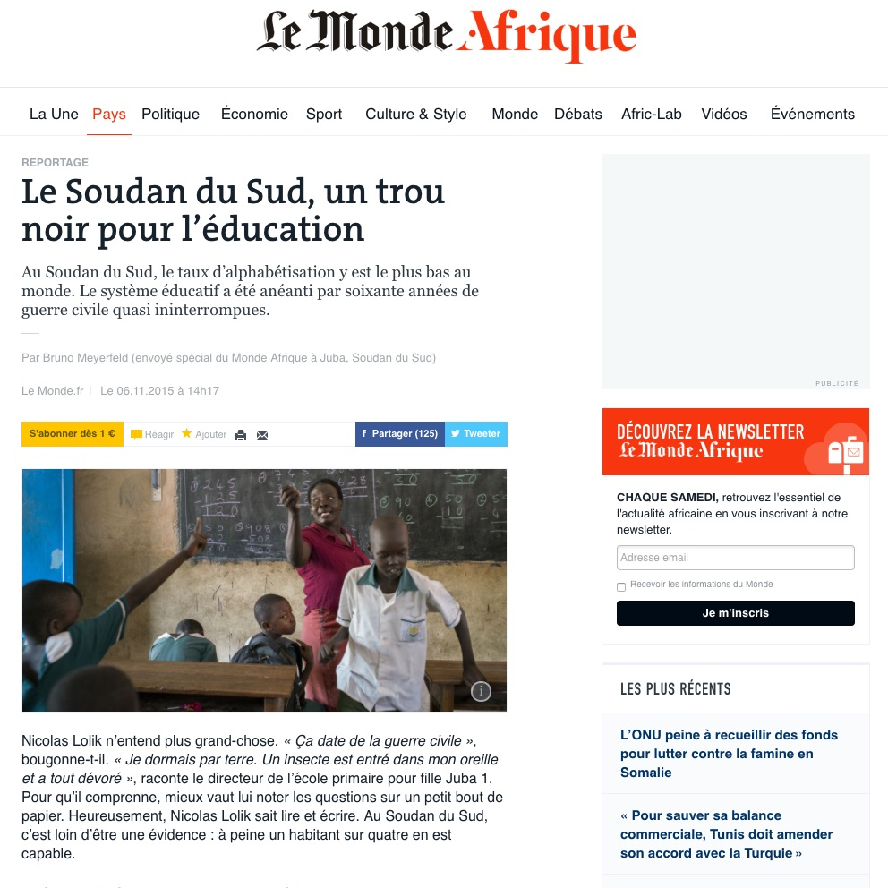 CLICK on title below to link to full article     Le Soudan du Sud, un trou noir pour l'éducation   (South Sudan, a black hole for education)  | Le Monde Afrique, Nov 6, 2015