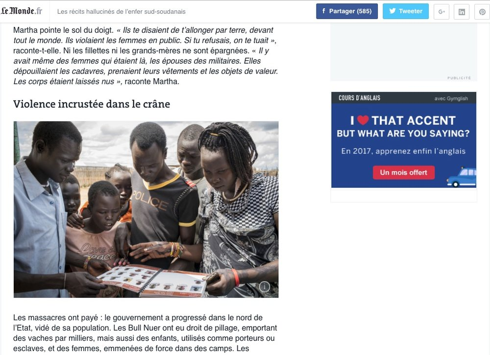 CLICK on title below to link to full article     Les récits hallucinés de l'enfer sud-soudanais   (The hellish accounts of South Sudan)  | LeMonde.fr, Oct 31, 2015