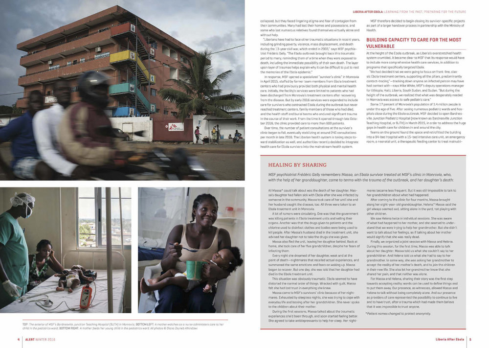 Liberia After Ebola | Medicins Sans Frontieres / Doctors Without Borders, Alert, Vol 17, No.4, front cover and page 3-9, Winter 2016