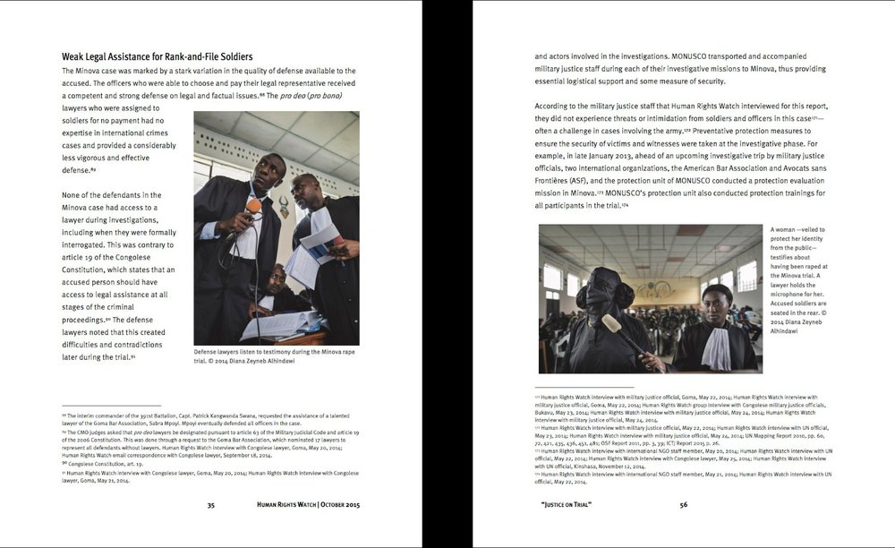 CLICK on title below to link to full report      Justice on Trial: Lessons from the Minova Rape case in Democratic Republic of Congo  (Front cover, and inside) | Human Rights Watch, Oct 1, 2015