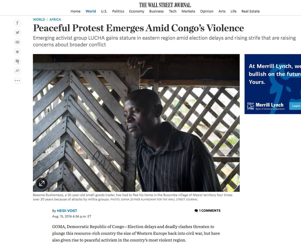 P  eaceful protest emerges amid Congo's violence  | The Wall Street Journal, Aug 15, 2016