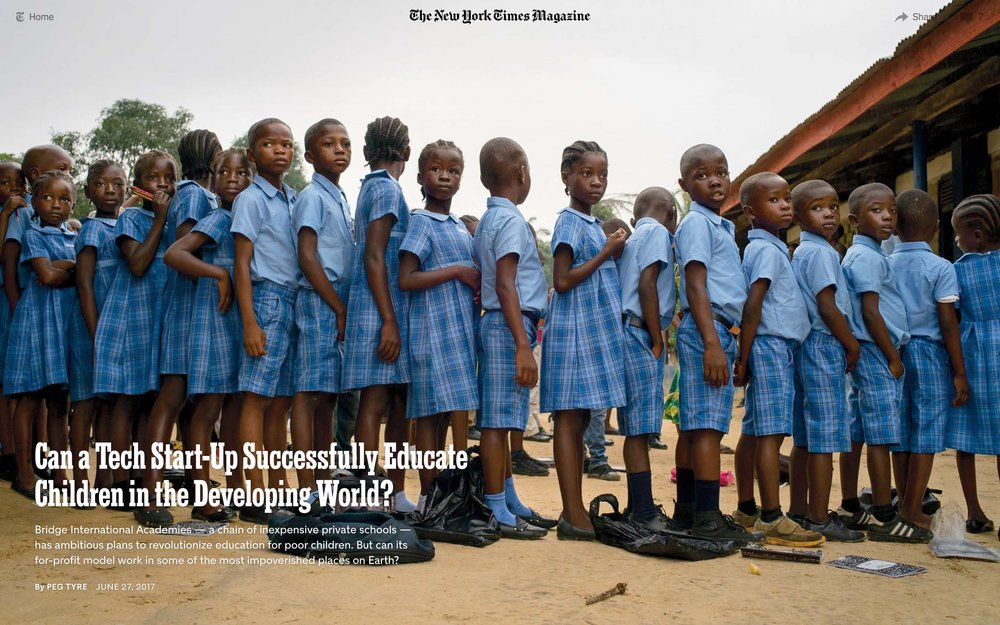 CLICK on title for full article     Can a tech start-up successfully educate children in the developing world?  | The New York Times Magazine, Jun 27, 2017   (Image 1 of 9)