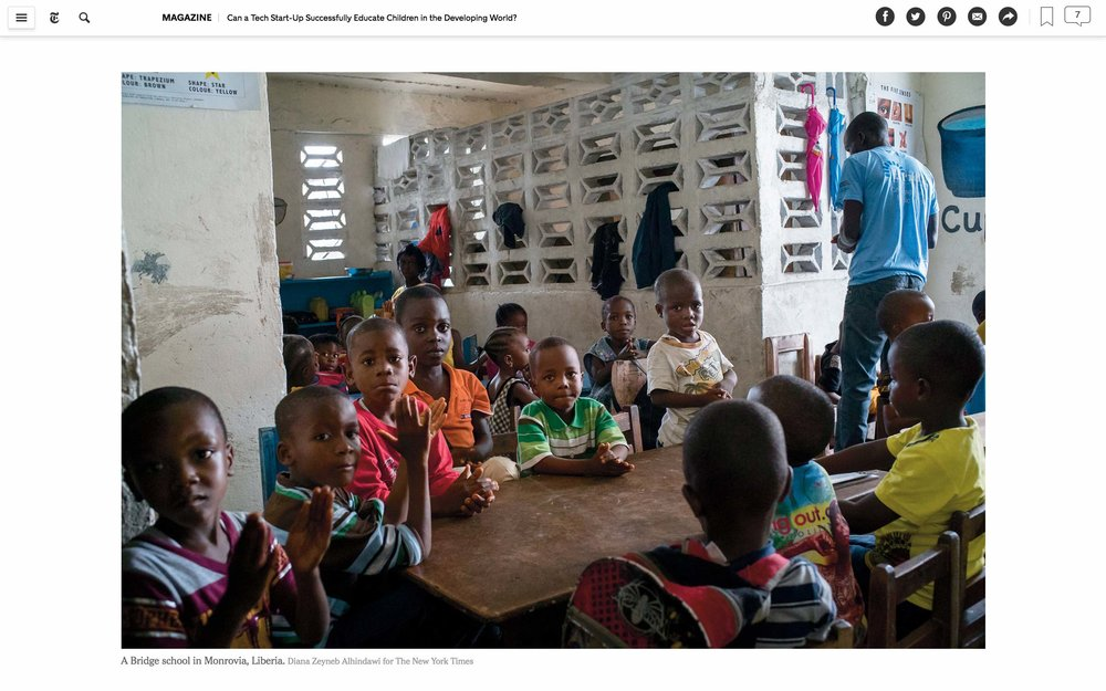 CLICK on title for full article     Can a tech start-up successfully educate children in the developing world?  | The New York Times Magazine, Jun 27, 2017   (Image 2 of 9)