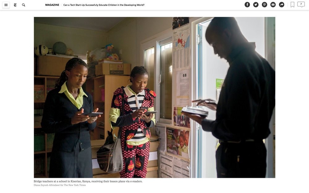 CLICK on title for full article     Can a tech start-up successfully educate children in the developing world?  | The New York Times Magazine, Jun 27, 2017   (Image 5 of 9)