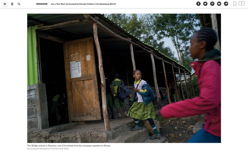 CLICK on title for full article     Can a tech start-up successfully educate children in the developing world?  | The New York Times Magazine, Jun 27, 2017   (Image 6 of 9)