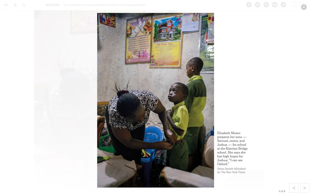 CLICK on title for full article     Can a tech start-up successfully educate children in the developing world?  | The New York Times Magazine, Jun 27, 2017   (Image 7 of 9)