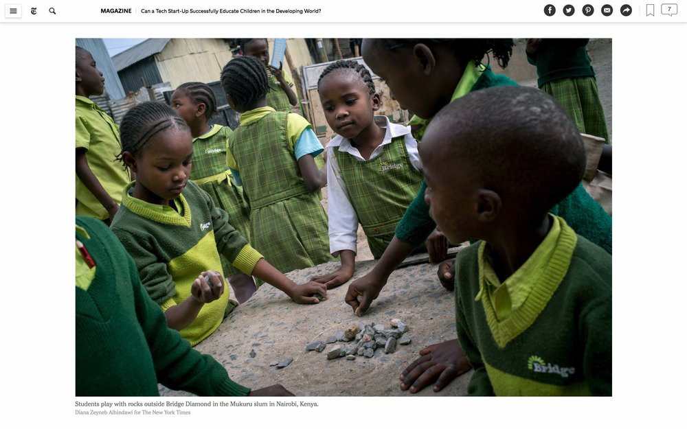 CLICK on title for full article     Can a tech start-up successfully educate children in the developing world?  | The New York Times Magazine, Jun 27, 2017   (Image 9 of 9)