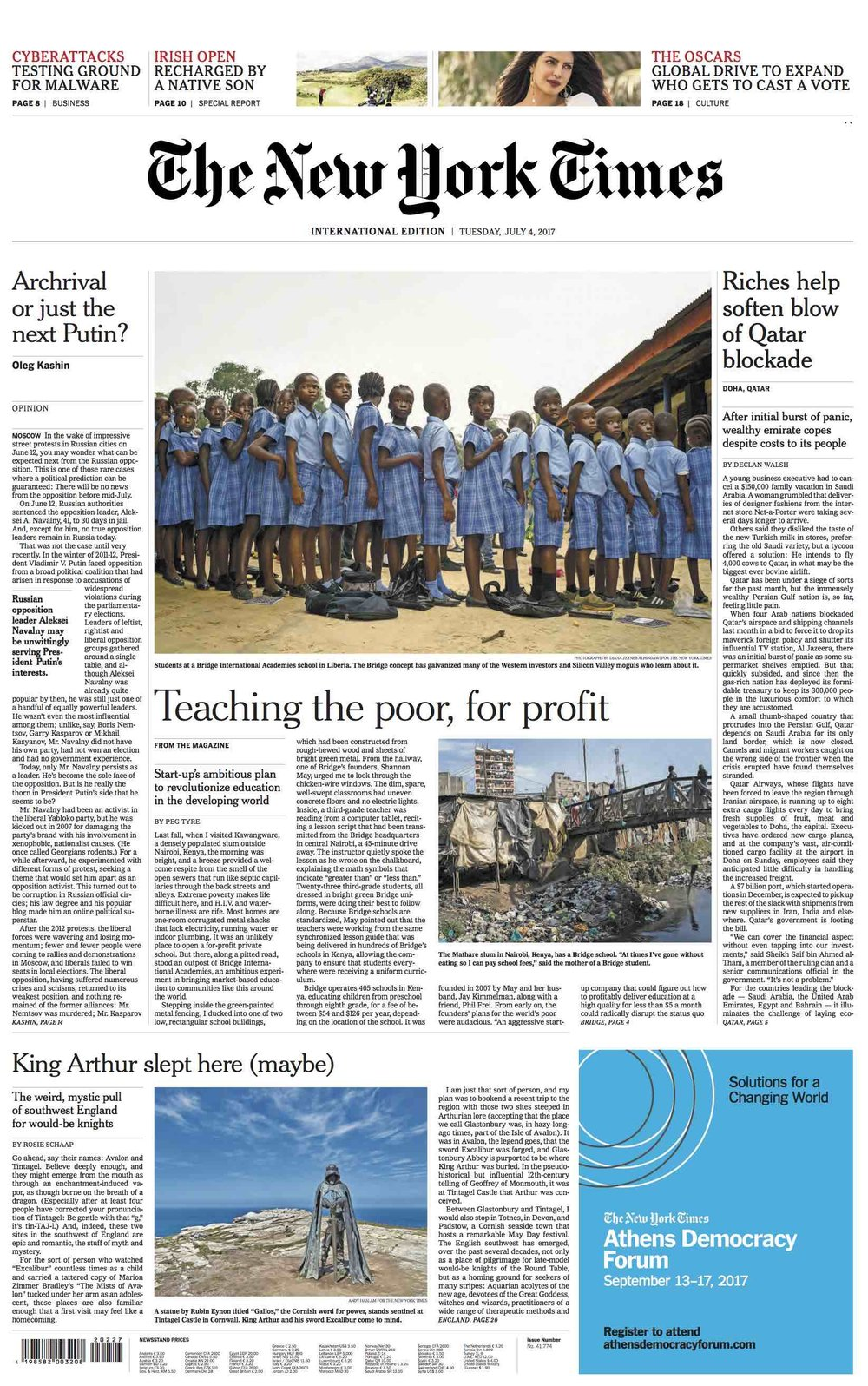 CLICK on title for online version     Teaching the poor, for profit  | The New York Times, International edition, pages 1, 4, 6 and 7, Jul 4, 2017