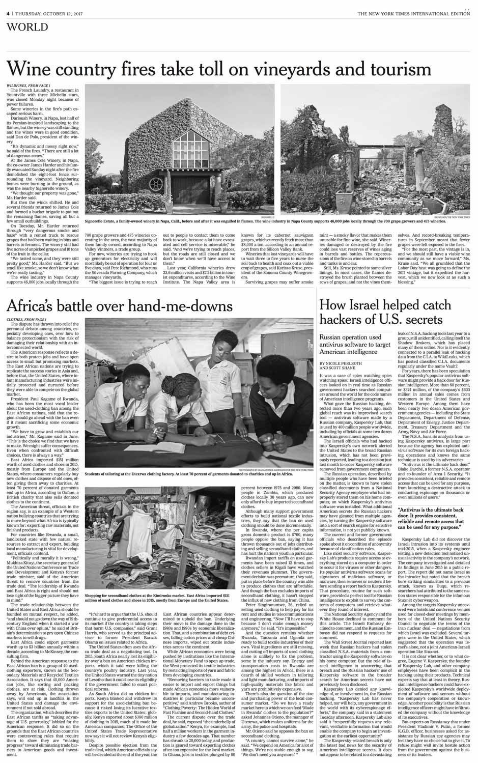 CLICK on title for online version     The hand-me-down battle  | The New York Times, International edition, pages A1 and A4, Oct 12, 2017