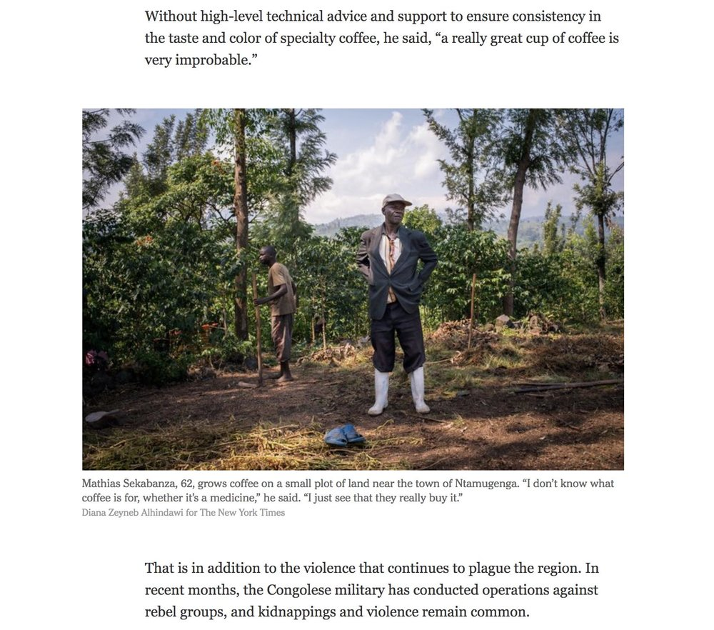 CLICK on title for full article     Congo's specialty brews look to be the future of coffee  | The New York Times, Aug 23, 2017